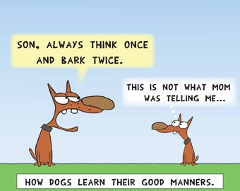 Old dog is teaching his son Good Manners print or mug