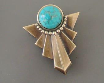 Art Deco Brooch - Vintage Brooch - Brass Brooch - Turquoise Brooch - Art Deco Jewelry - Chloe's Vintage Jewelry - handmade jewelry