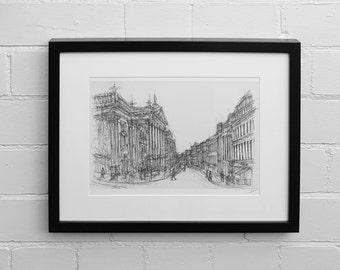 Grey Street Print, Newcastle Upon Tyne Print, Illustration, Sketch, Newcastle Skyline, Wall Art Print, Giclee Art Print, Drawing Print