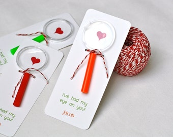 "Magnifying Glass ""I've Had My Eye On You"" School Valentine's Card - Fully Assembled, Toy Magnifying Glass, Kids Valentines Card"