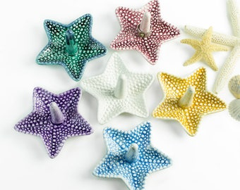 Tropical jewelry ring dish Holder Organizer storage Beach wedding favor Decor Ceramic bridesmaid gift / discounted for 6 Starfish dishes set