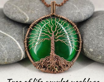 Tree of life necklace Tree of life pendant Recycled jewelry Green necklace Copper tree jewelry Anniversary gift for wife gift for mom gift