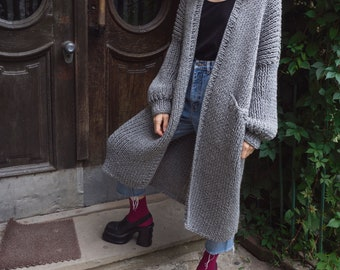 Oversized Cardigan. Long Cardigan with Pockets. Maxi Coat. Chunky Knit. Maxi Cardigan
