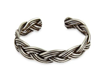 925 solid Sterling Silver Woven Plait Toe Ring