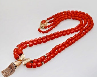 Vintage Sardinian Red Coral Bead 14KT Gold Tassel Necklace, Coral Necklace, Vintage Coral, 1950s Necklace