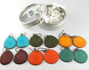 Earthy Colors 6 Pair Compact Travel Pack Tagua Nut Eco Friendly Earrings with Free USA Shipping #taguanut #ecofriendlyjewelry