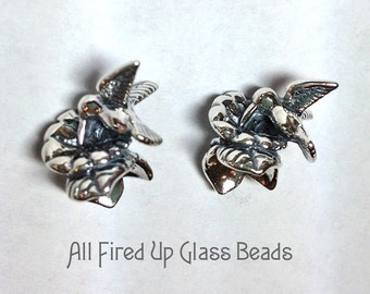 Hummingbird Bead Cap Sterling Silver Made in the USA