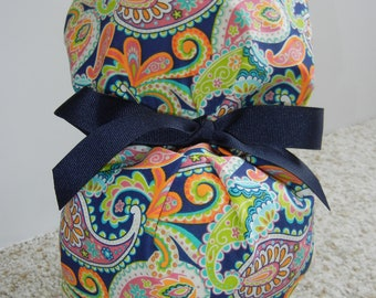 Turn Up Ponytail Surgical Scrub Hat in Bright Paisley Navy CHOOSE RIBBON COLOR