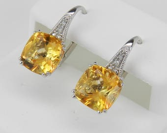 White Gold Diamond and Cushion Cut Citrine Drop Earrings November Birthstone