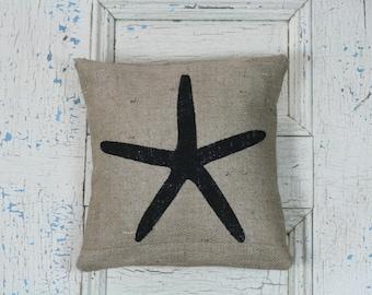 Starfish Pillow, Burlap Pillow, Pillow Cover, Rustic Decor, Decorative Pillow