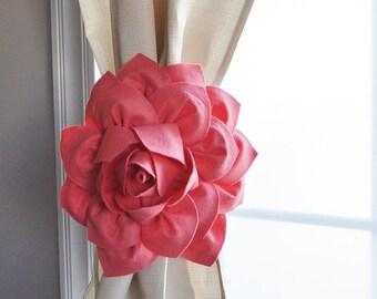 Curtain Tiebacks / Two Flower Window Treatments / Curtain Holdback / Drapery Tie Back / Coral Home Decor / Curtain / Curtain Tie