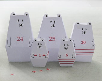 ADVENT CALENDAR -25 little Polar Bears and décor Paper Craft Kit- Diy-Paper Toy-Holidays décor- PRINTABLE pdf- Christmas Ornament