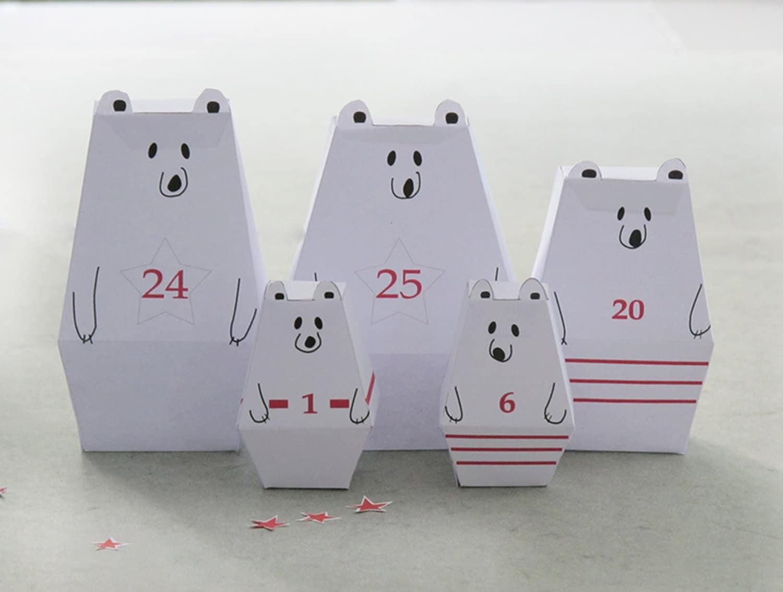 Advent calendar 25 little polar bears and dcor paper craft zoom solutioingenieria Images