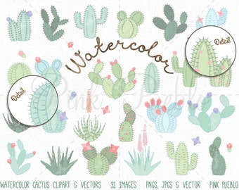 Watercolor Cactus Clipart, Cactus Clip Art, Watercolor Succulent Clipart Clip Art, Watercolor Clipart Clip Art - Commercial and Personal Use