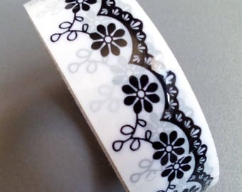 Masking tape black and white flowers lace 10 m