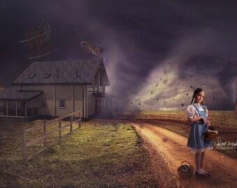 2 Wizard of Oz Digital Backdrops, Halloween Digital, Tornado Wizard of Oz, Photo Backdrop, Digital Background, Digital File, Dorothy, Toto