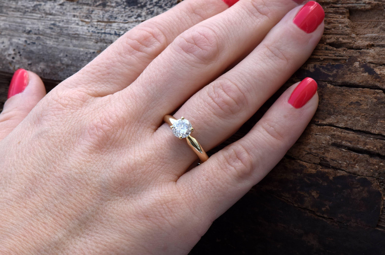 Diamond Solitaire Ring-0.88 carat Solitaire ring -Classic diamond ...