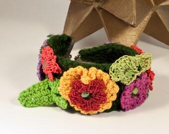 Flower power crocheted cuff bracelet