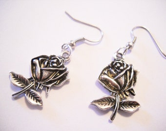 "Rose Earrings Flower Earrings Silver Rose Earrings Silver Flower Earrings Dangle Earrings Garden Earrings Silver Dangle Earrings 1.5"" Steel"