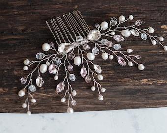 Bridal Hair Comb Wedding Decorative Hairpiece Swarovski Crystal Hair Vine Pearl Hair Clip Pink Blush Beaded Headpiece Wedding Hair Jewelry