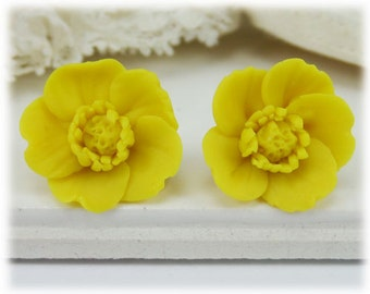 Yellow Buttercup Earrings Stud or Clip On - Buttercup Jewelry, Yellow Buttercup