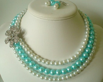 Three Strand Large Rhinestone Flower Pendant with Aqua Blue and White Pearls Beaded Necklace Set   Great for the Bride