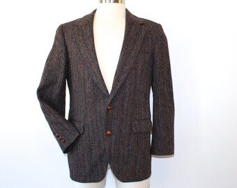 HARRIS TWEED Mens Blazer Wool Jacket Sport Coat Herringbone M 40S Charcoal Grey Red Teal Brown Navy 80s 1980s Fall Fashion Winter Fashion