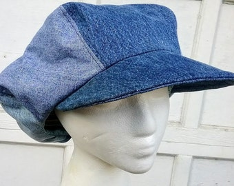 Denim Newsboy Hat Fashion Mens Six Panel Applejack Gatsby Cap