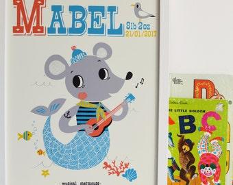 Personalised 'Musical Mermouse' Nursery Name Print, Personalised Print, New Baby name print Gift, Kids mermaid Print,Nursery Art,nautical