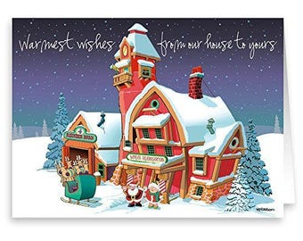 Santa's Headquarters Christmas Card - 18 Cards & Envelopes - KX355