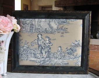 French toile de jouy pastoral scene frame cottage chic