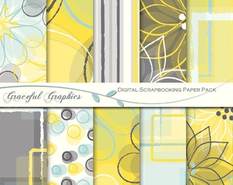Scrapbook Paper Pack Digital Scrapbooking Background Papers10 Sheets 8.5 x 11 Abstract Flowers Yellow Blue Brown White 2028gg