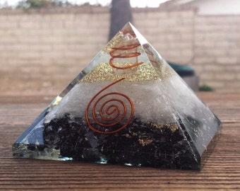 Extra Large (70-75mm) BLACK TOURMALINE/SELENITE  Orgone Gemstone Pyramid X-Large Pyramid Orgone