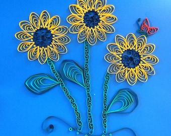 Handmade Quilled Paper Black-eyed Susan Art