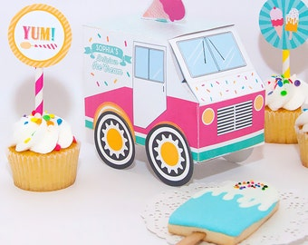 Pink & Aqua Ice Cream Social Party Favor Box, Food Truck, Paper Toy, Candy box, Printable Instant Download
