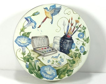 Round Decorative Tin, Lidded, Water Colors in the Garden, Blue Morning Glories, Blue Birds