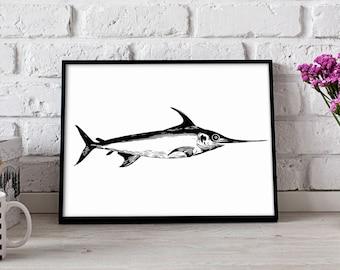 Affiche de poisson espadon, espadon wall art, affiche nautique, décoration murale espadon, impression d'espadon, affiche de cadeau