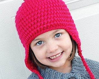 Puffy Earflap Hat Crochet Pattern *Instant Download*(Permission to sell all finished products)