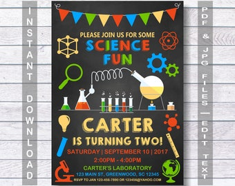Science Invitation, Science Party Invitation, Science Birthday Invitation, Instant Download,  Science party, Science, for a girl or boy