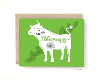 Taurus Zodiac Birthday Card The Bull, Birthday greeting card April May Birthday