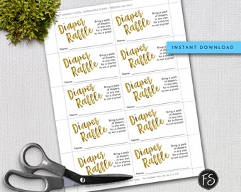 Gold Glitter Baby Shower Diaper Raffle Ticket, Instant Download, Printable Raffle Ticket, DIY PRINTABLE