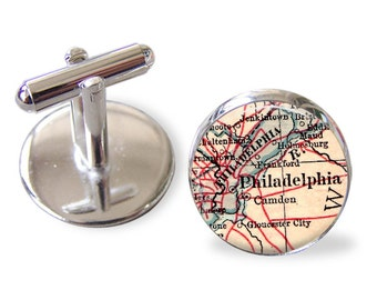 Philadelphia Custom Cuff Links, Personalized Cufflinks Fathers Day, Father's Day Gift, Mens gift, Man gift, Custom cufflinks for Him, A276
