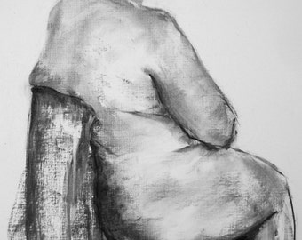 Life Drawing # 5 original charcoal study