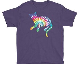 Tie Dye Cat Youth Shirt, Tie Dyed Kitty Print, Cat Lady Psychedelic Kitten Shirt, Trippy Hippy Feline Art Youth Short Sleeve T-Shirt
