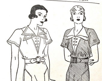 Spring Sale 1930s Pictorial Review Printed 6987 40s  Dress Pattern  Deep V Vestee Finished with Double Revers  Bust 38  Hip 41