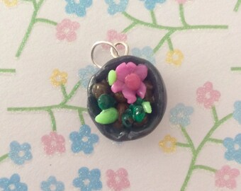 Succulent Garden Pot Polymer Clay Charm / Pendant / Keychain / Necklace Accessory / Cactus / plant charms / nature / flower key chain / grey