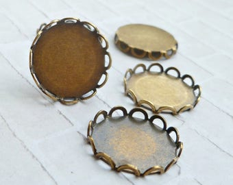 15mm Lace Edge Brass Ox Settings for Flat Cabs (11-33-12)
