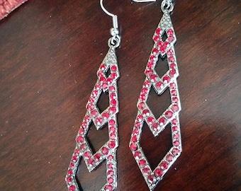 Deep red crystal and gunmetal earrings