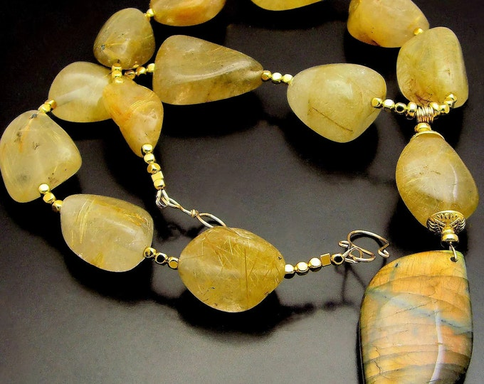 ELIXIR ~ Rutilated Quartz,  Labradorite, 14kt Gold Fill Necklace