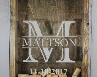 Initials/Cork Holder/Decor/Personalized/Wedding Date/Bar Decor/Father's Day/Man Gift/Engraved/Wedding Gift/Anniversary Gift/monogram